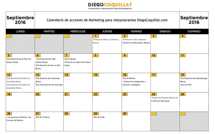 2016 ACTIONS MARKETING HORAIRES DiegoCoquillat.com - Septiembre2016