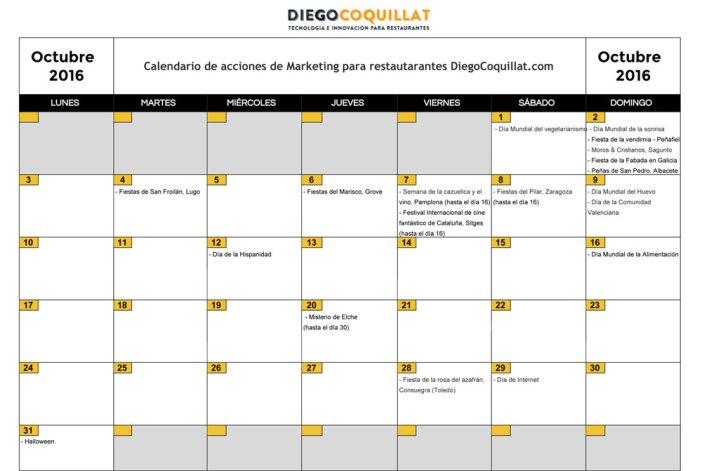 Octobre 2016: Calendrier des activités de marketing pour les restaurants