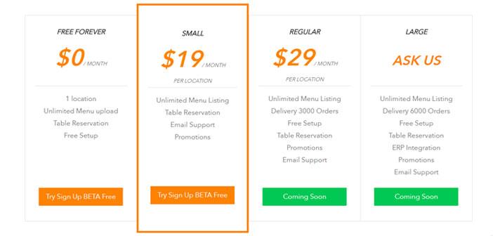 Pour les restaurants qui veulent appartenir à la plate-forme, Cela a des plans d'enregistrement à partir de 19$ et vous permettent d'inclure des menus illimités, le système de réservation de table et support par e-mail.
