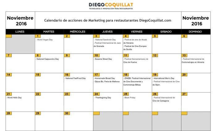 November 2016: Calendar of marketing activities for restaurants