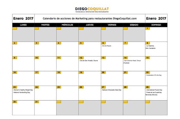 January 2017: Calendar of marketing activities for restaurants