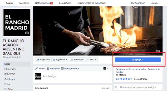 Facebook gives us the option to create a call to action visible to all users who visit our Fanpage.