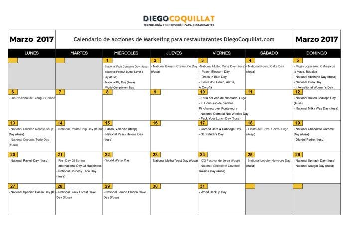 Marzo 2017: Calendario de acciones de marketing para restaurantes