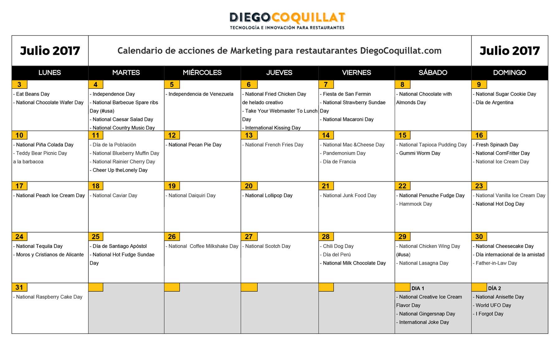 July 2017: marketing activities calendar for restaurants
