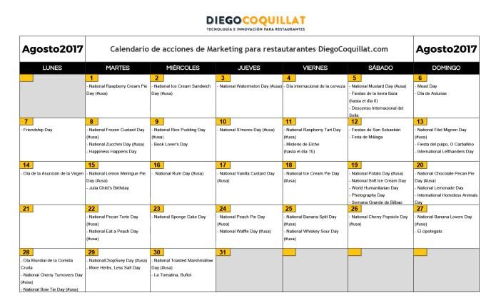 août 2017: activités de marketing calendrier pour les restaurants