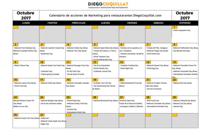 October of 2017: marketing activities calendar for restaurants Download the #ClubDiegoCoquillat