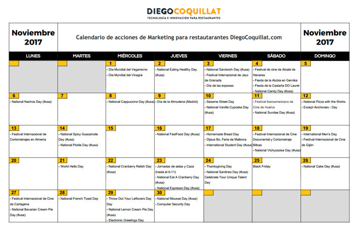 Noviembre 2017: Calendario de acciones de marketing para restaurantes