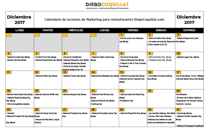 December of 2017: marketing activities calendar for restaurants Download the #ClubDiegoCoquillat