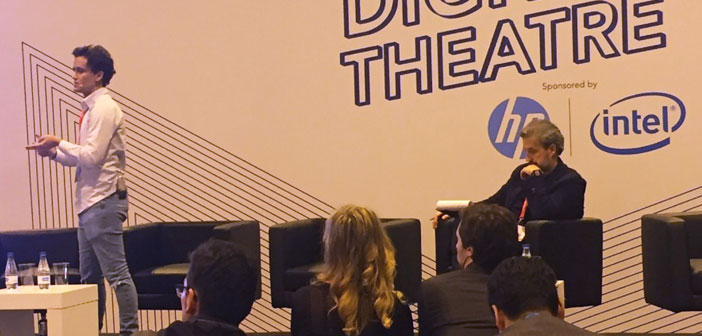 Alberto Bonhomme during his presentation at the digital theater ExpoHip 2018