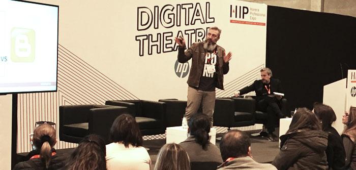 Óskar García dans sa participation à la #TeatroDigital qui a mené pendant @diegocoquillat # ExpoHip2018 à Madrid.