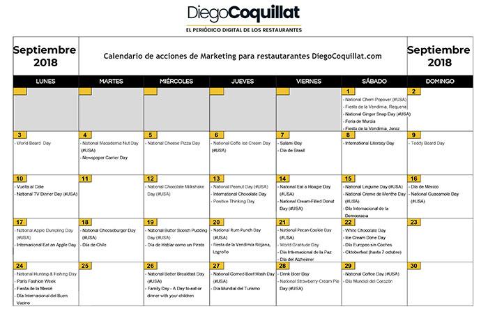 September 2018: Calendar of marketing activities for