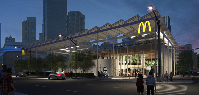 As well, There are several underlying solutions that are already present in the McDonald's EOTF Chicago. One of the most apparent is the glass facade and spacious and airy spaces that facilitate movement inside the establishment.