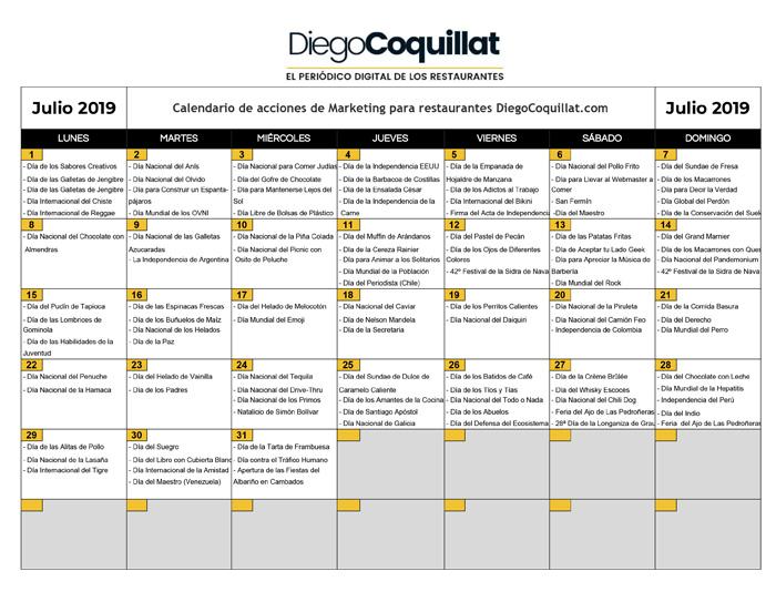 Calendario Camion 2019.July 2019 Marketing Activities Calendar For Restaurants