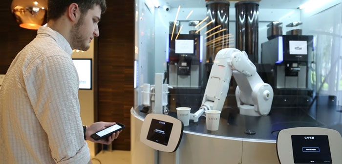 X Café is another local who use robots as claim. Upon entering the home, the client will see a robotic arm after a cylindrical case.