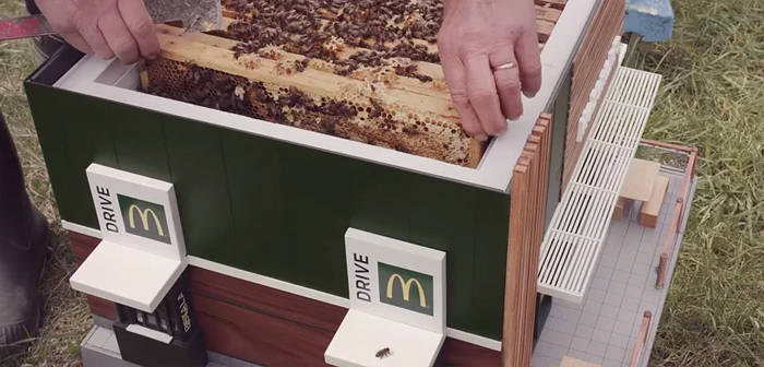 Dubbed the McHive, This McDonald's restaurant designed by NORD DDB is inspired by the Nordic restaurants that have beehives on its roof to launch a call to action: protect and preserve our bees.