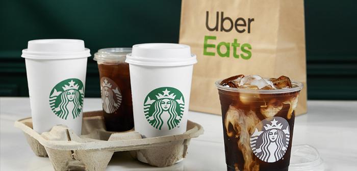 L'application dispose également de systèmes pour utiliser le service de livraison Starbucks avec livraison de la commande à domicile via Uber Eats.