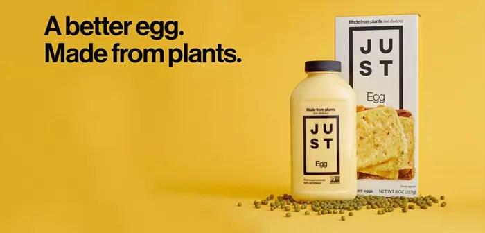 JUST Egg, el artículo que Eat Just intenta introducir en la Comunidad Económica Europea, es un sustituto vegetal del huevo tradicional que se entrega batido y embotellado, listo para ser preparado como tortilla, revuelto o complemento a otra receta.