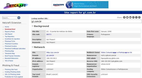 Resultado no Netcraft de uma consulta do site g1.com.br