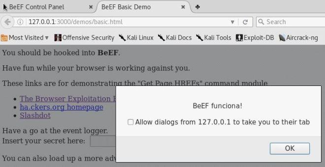 BeEF - Resultado do Create Alert Dialog