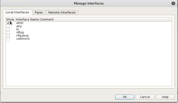 Wireshark - Manage Interfaces - eth0