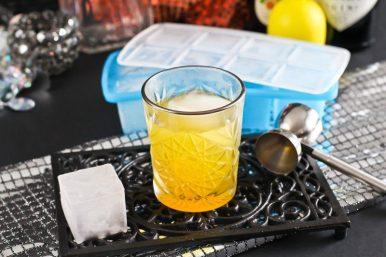 Anzeige Maracuja Gin Fizz mit Eiswürfelform myDRINK von tescoma