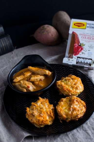 Herzhafte Süßkartoffel Rösti Muffins Rezept vom Blech