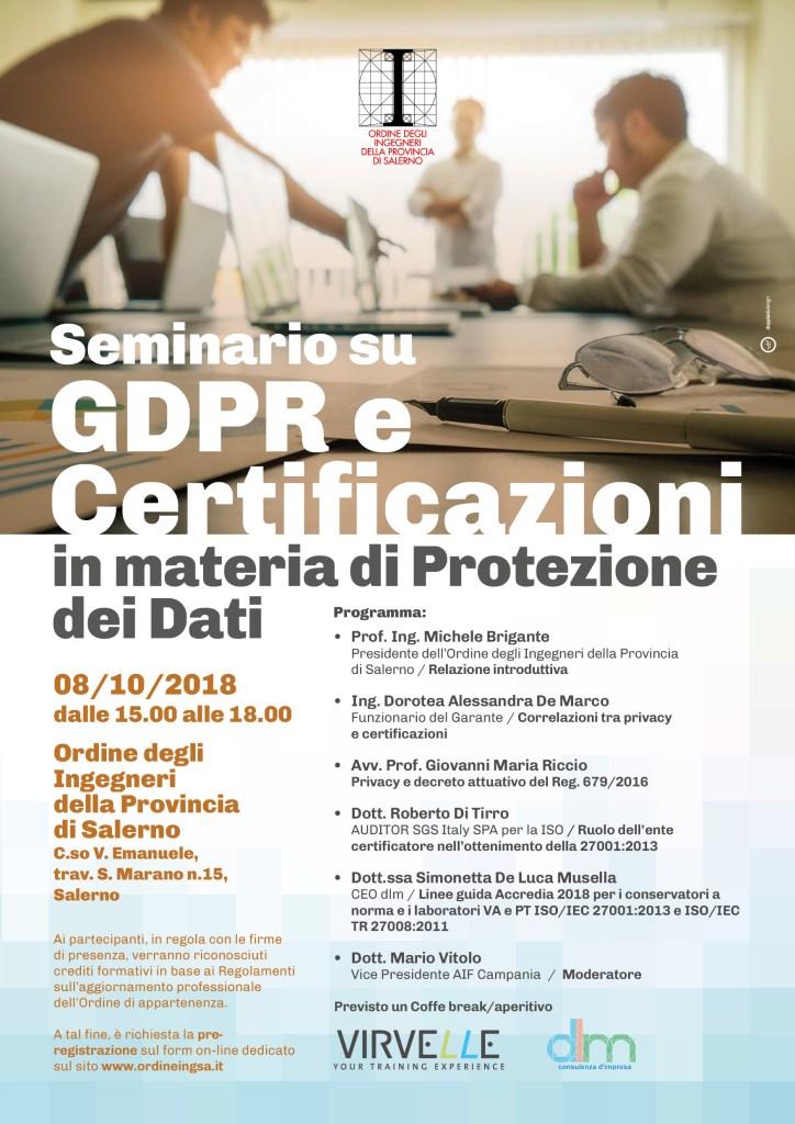 """Seminario """"GDPR e Certificazioni in materia di Protezione dei dati"""""""
