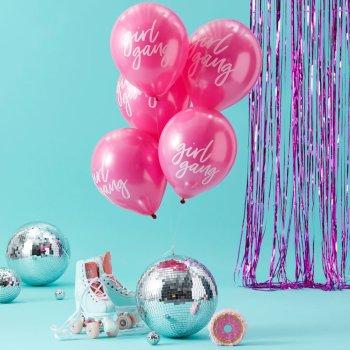 10er Set cooler pinker Latexballons mit dem weißemAufdruck Girl Gang