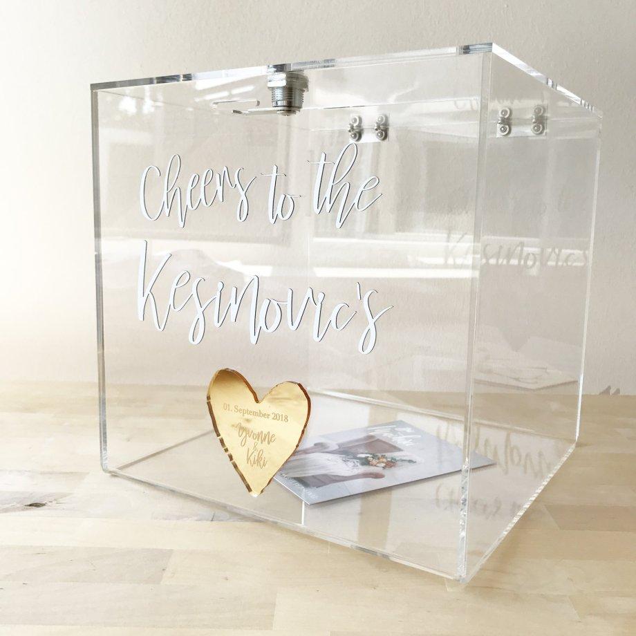 Personalisierte Keepsake Box für Grußkarten & GEldgeschenke bei Hochzeit oder Taufe. Die Macherei