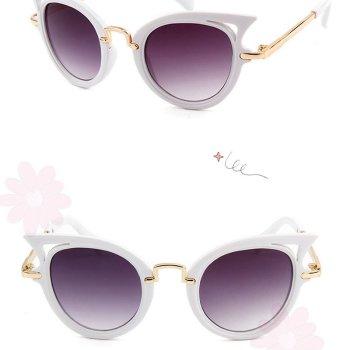 Kindersonnenbrille cateyes in Katzenaugenform aus weißem PLastik. Die Macherei