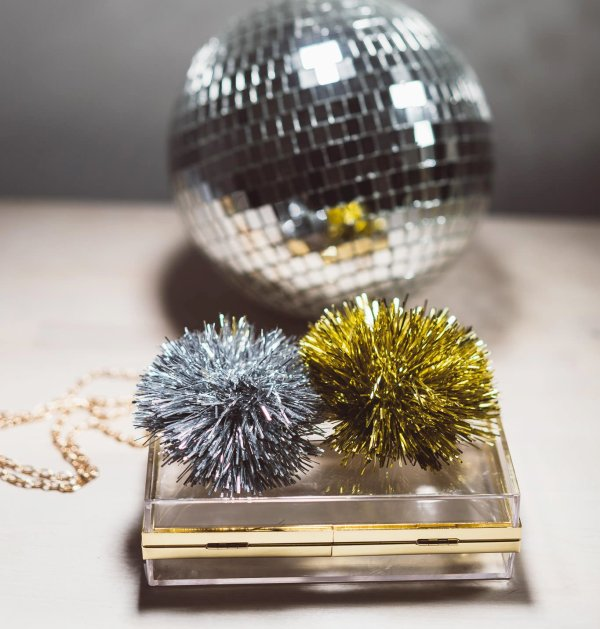 Bedazzling Clutch Metallic PomPoms