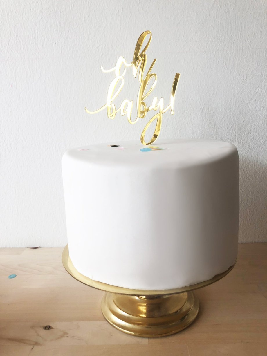 Oh Baby Mini Caketopper in Gold und Roségold. Die Macherei