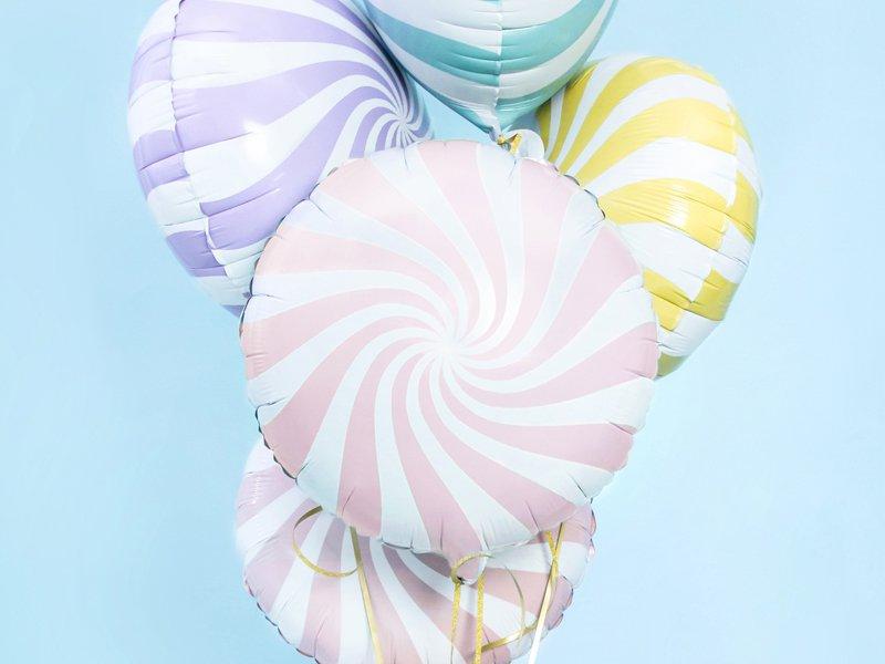 Candy Folienballons gestreift Pastell