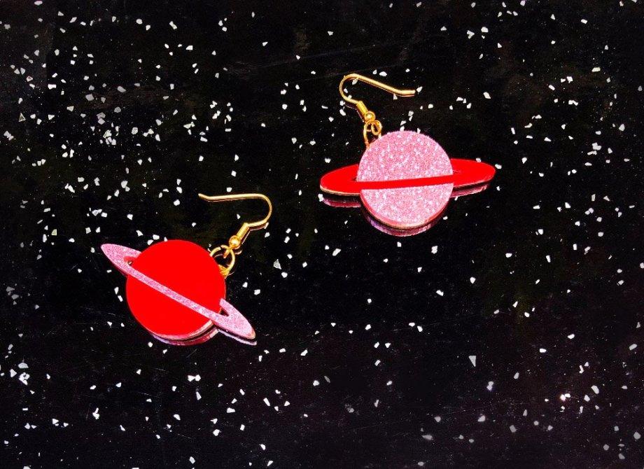 Ohrringe Planeten glitzer. Die Macherei