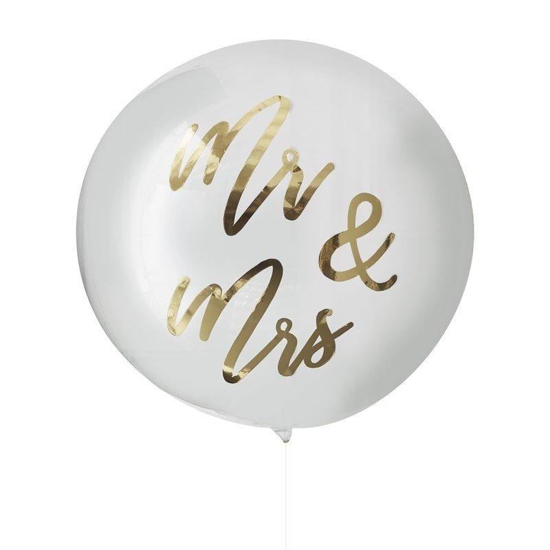Orb Ballon clear Mr Mrs gold
