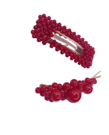 Große Perlen Haarspange rot