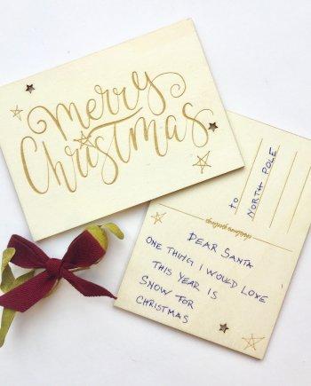 """Holzkarte Weihnachten """"Merry Christmas"""". Die Macherei"""