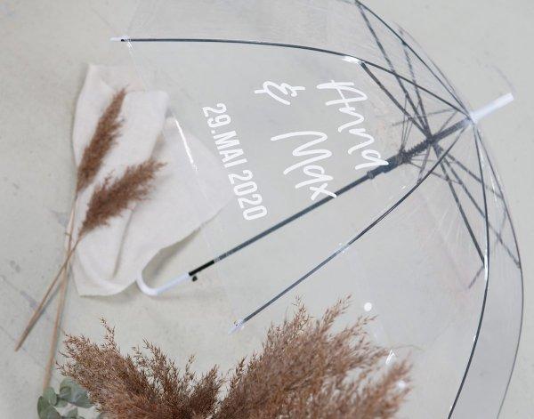Regenschirm transparen personalisierbar
