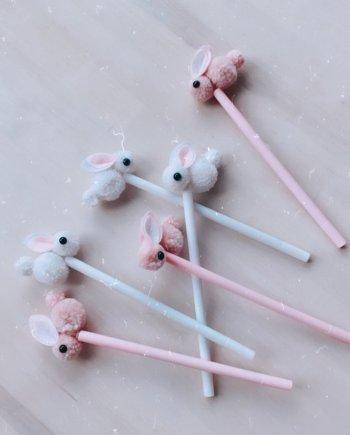 Stift Stoffhase rosa weiß