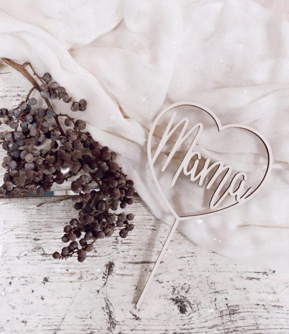 Caketopper Mama in Herz Muttertag