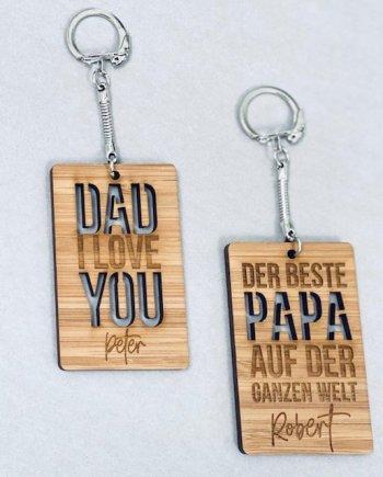 Bambusanhänger Dad personalisierbar