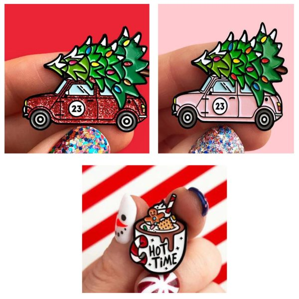 Emaille Pins Driving Home For Christmas 3 Styles