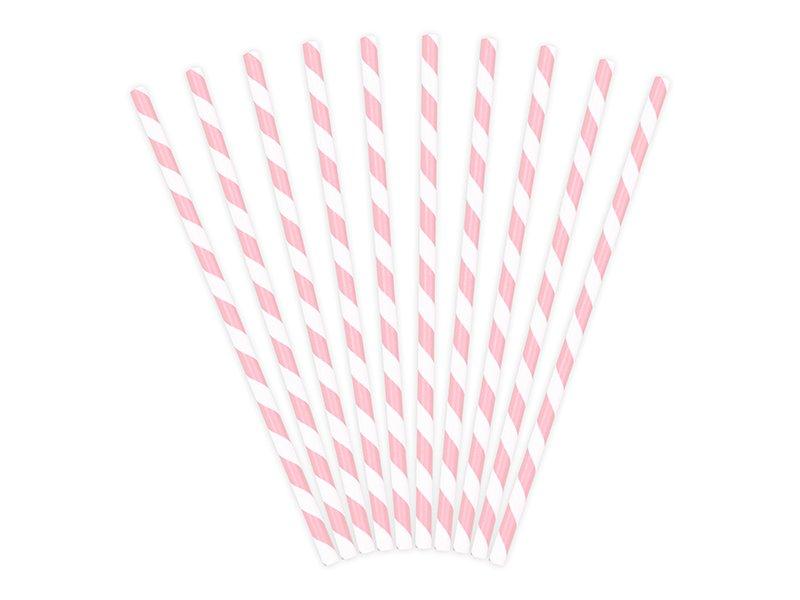Papier Strohhalme rosa weiß