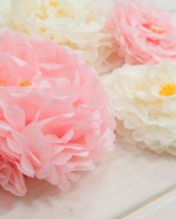 Papierblumenset Pastell
