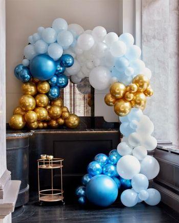 """Ballongirlande Deluxe """"Blue White Gold"""" 200teilig"""