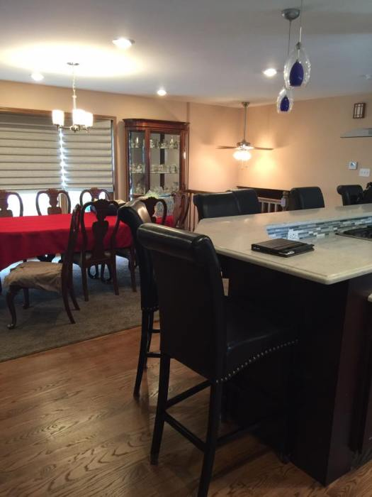 Breakfast Counter and Dining Room Brings the Family Together