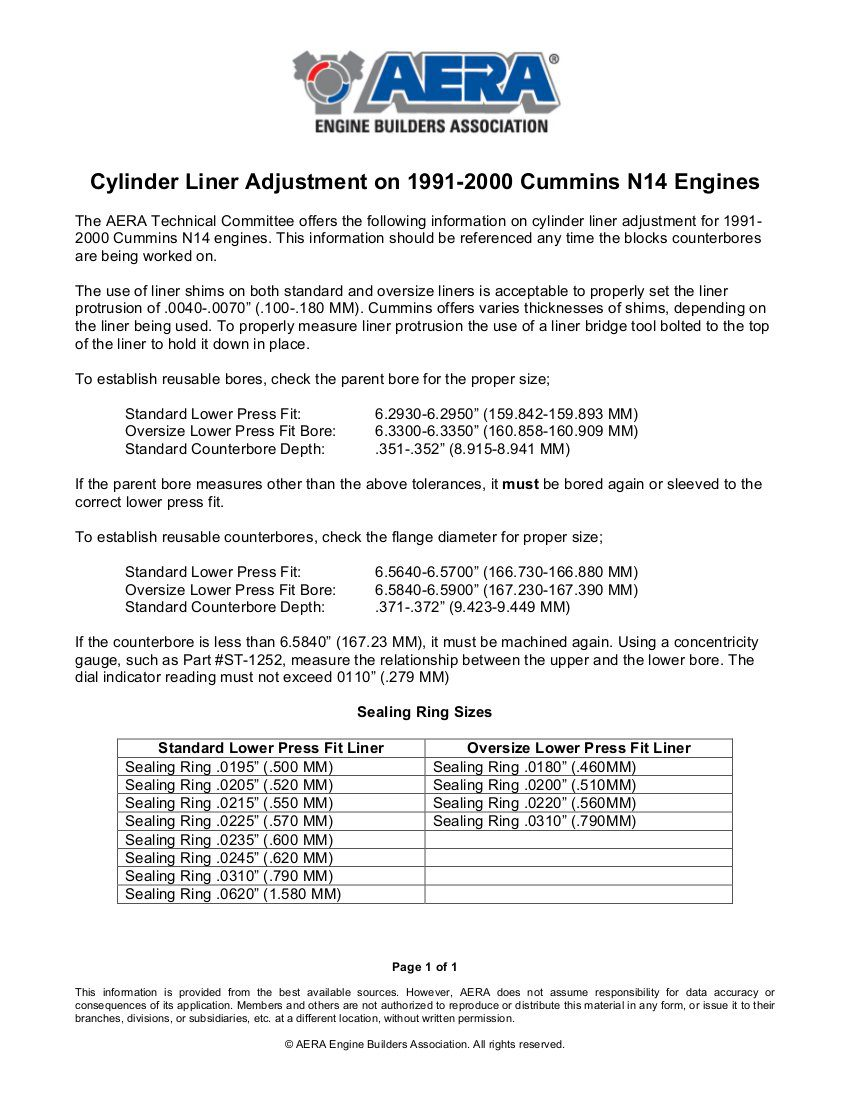 Cylinder Liner Adjustment on 1991-2000 Cummins N14 Engines