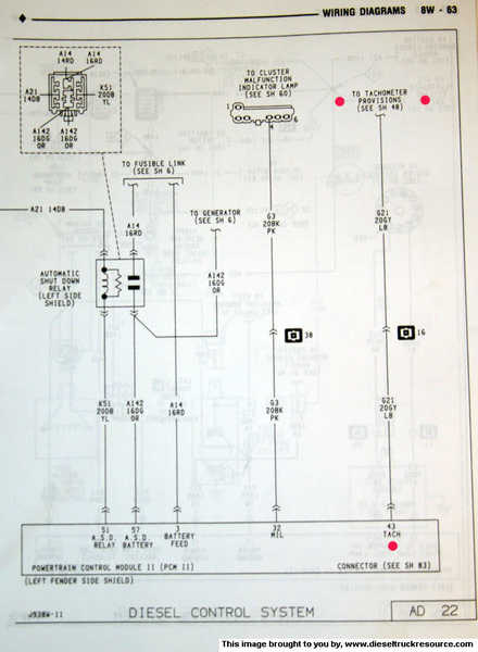 factory tach wiring  dodge diesel  diesel truck resource