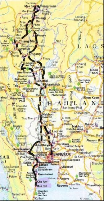 Hier sehen Sie dir Route welche wir gefahren sind
