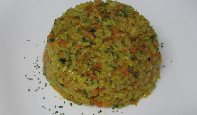 Arroz pilaf integral con calabacín